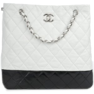 CHANEL Black and White Chain Tote Bag
